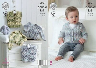 King Cole Baby Cardigans & Waistcoats Drifter for Baby Knitting Pattern 4...