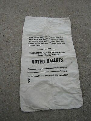Vintage Raymond P Jaegers County Clerk Osage County MO Ballot empty cloth sack