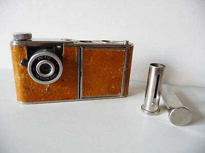Walter Kunik Petie vanity case spy camera; brown leather chrome RARE; 1956