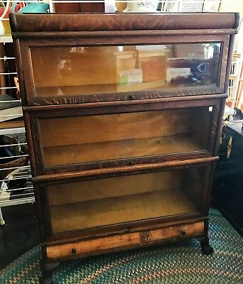 Antique Barrister Lawyer's 3 Section Bookcase w Top & Drawer Base By Macy
