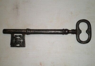 """Very Large Antique Key Almost 9"""" Iron Skeleton Gate or Church"""