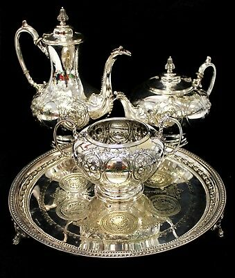 Antique / Vintage SILVER Plated Tableware TEAPOT, COFFEE POT, TRAY & BOWL  - H63