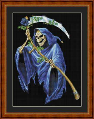 Grim Reaper  With Rose - Pdf Or Printed Chart 14 Count