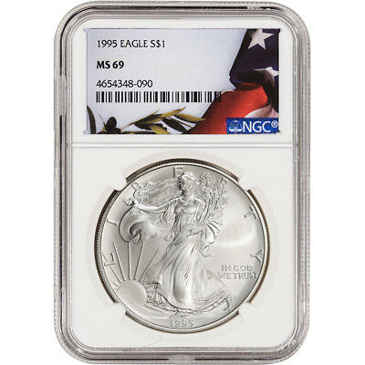 1995 American Silver Eagle - NGC MS69 - Flag Label
