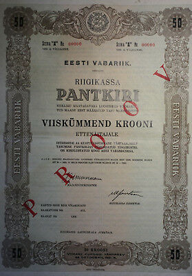 Estonia 50 Krooni 1929  Specimen Coupon Bond