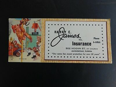 Vtg Jacksonville Fl Unused Ink Blotter Harry E. James Insurance Illustrated