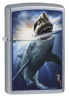 "Zippo ""Mazzi-Shark Attack"" Lighter, Street Chrome Finish, 29568"