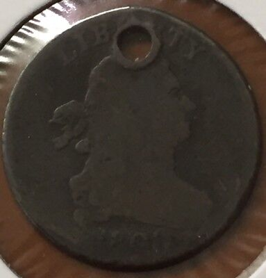 1800 Draped Bust Half Cent Holed For Necklace Pendant Original US Coin - TCC