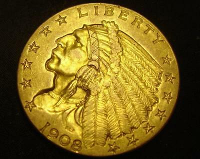 1908 $2 1/2 Indian Head Gold Coin Quarter Eagle BU MS! Counter Mark Counterstamp