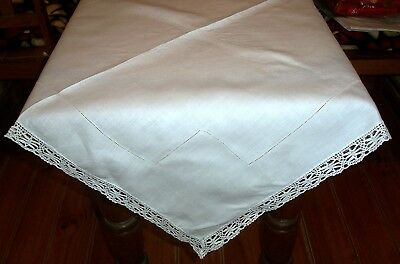 Vintage White Linen Tablecloth with Draw Thread Centre Lace Edging