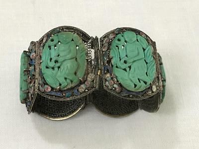Chinese 19th C. Silver Carved Turquoise Floral Cloissone' Enamel Bracelet