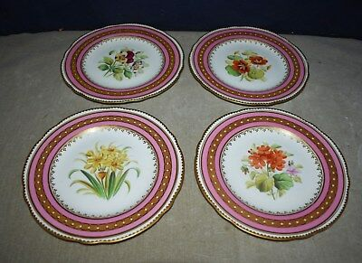 Rare Antique Set Of 4 Hand-Painted Serving Cabinet Plates W/gold, Enamel