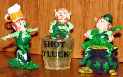 Old Enesco St. Patricks Day Leprechauns Merry Miniatures Set of 3