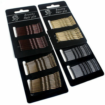 Lot 60Pcs Black Invisible Flat Top Bobby Pins Grips Salon Barrette Hair Clips