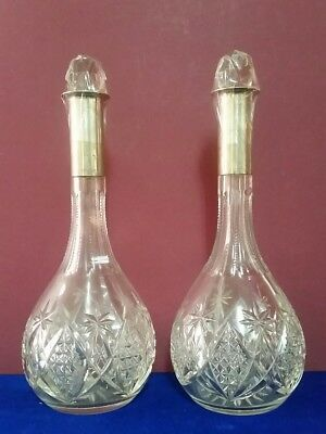 Pair Antique Hand Cut Crystal Decanters  With Sterling Silver Neck.