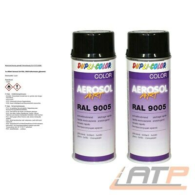2x 400ml DUPLI COLOR AEROSOL ART RAL 9005 SCHWARZ GLANZ LACKSPRAY SPRÜH LACK