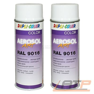 2x 400ml DUPLI COLOR AEROSOL ART RAL 9016 WEISS GLANZ LACKSPRAY SPRÜH LACK SPRAY