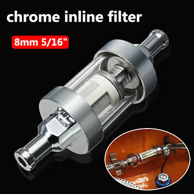 Universal 8mm 5/16'' Inline Petrol Fuel Filter Chrome & Glass Reusable Washable