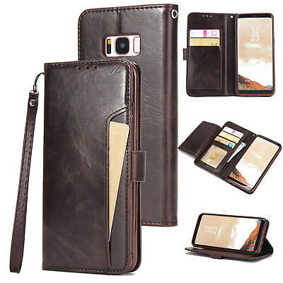 For iPhone/Samsung Card Slot Flip Stand Wallet Case Magnet Closure Leather Cover