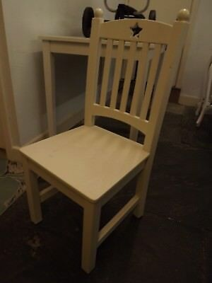 Small White (Childs? ) Wooden Chair Star Design Collect LA6