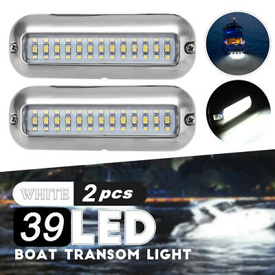 2x 4.7'' White 316SS Cover 39 LED Underwater Pontoon Boat Transom Fishing Light