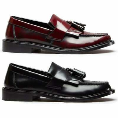 Blakeseys SCOOTER Mens REAL Leather MOD Tassel Penny Loafers Black/Oxblood