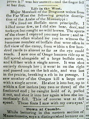<1835 newspaper WILD BUFFALO HUNTING on PLAINS w OSAGE Native American Indians