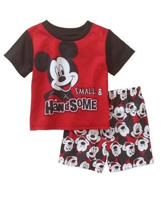 Disney Mickey Mouse Small & Handsome 2Pc Pajamas Shirt & Shorts Set 3T Boys NWT