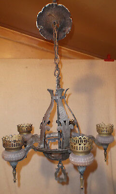 Antique Hammered 5 Light Chandelier Arts & Crafts Gothic Tudor Medieval 1920's