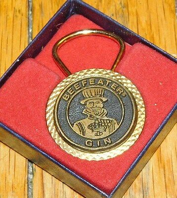 """New Old Stock Beefeater Gin Keychain Gold Metal 1.5"""" Diameter"""
