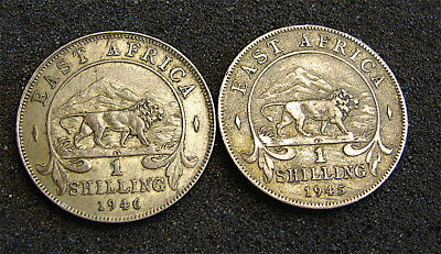 East Africa---British--1 Shilling Coins----1944 & 1945