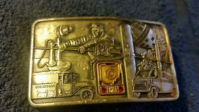 Sterling Silver Ohio Bell Telephone Company Belt Buckle  Two Rubies & Diamond