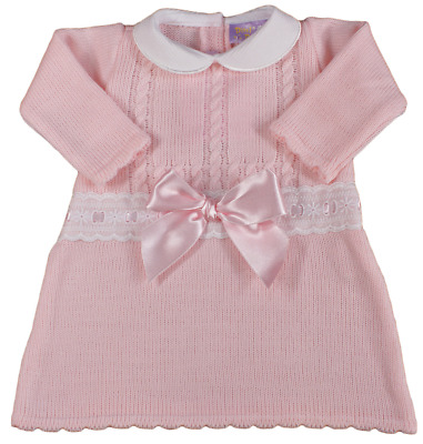 Baby girl dress BOW knitted Spanish style PINK