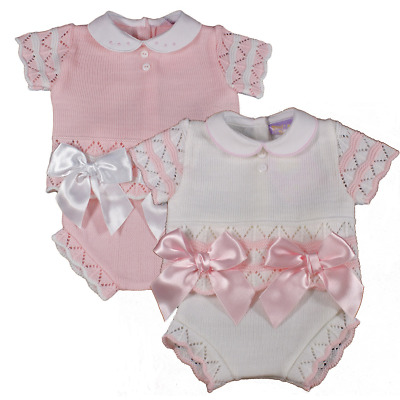 Baby girl BOWS Spanish knitted outfit jam pants knickers top pink white