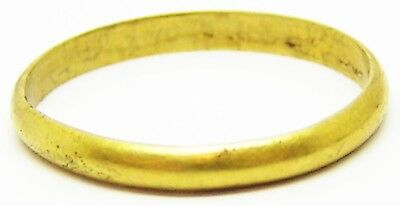 17th century Gold Wedding Band / Finger Ring Size 6 1/2 Wearable / not a Posy