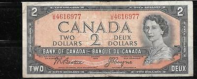 CANADA #76a 1954 $2 DOLLARS AG-CIRC OLD BANKNOTE PAPER MONEY CURRENCY BILL NOTE