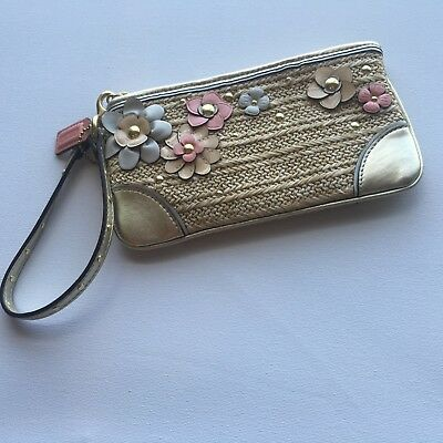 Coach wristlet METALLIC and leather flowers!! so pretty for spring and summer