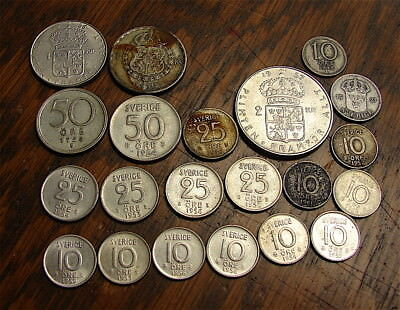 Sweden-----Lot of 21 Vintage Coins all Containing Silver