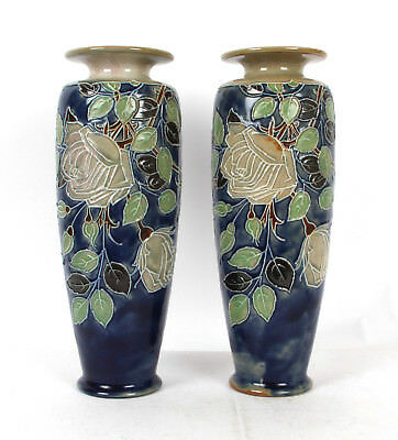 Royal Doulton Lambeth Pair Arts and Crafts Pottery Vases Glasgow Roses