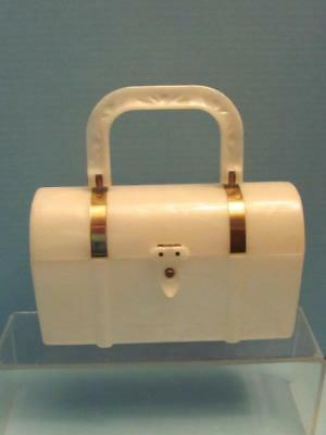 Awesome 1950's Vintage White Lucite Lunch Box Lunch Bucket Purse