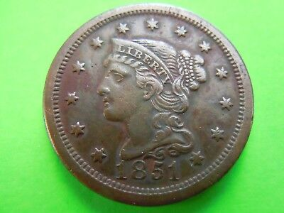 "1851 Large Cent With Braided Hair In High Grade. Nice; ""type Set"" Coin!"