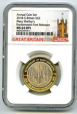 2018 Great Britain 2Pnd Ngc Ms64 Dpl Mary Shelley's Frankenstein First Releases