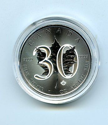 2018 $5 Canada 1Oz Silver Limited 30Th Anniversary Maple Leaf In Plastic Capsule