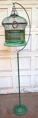 Antique Green Wire Birdcage with tall stand.