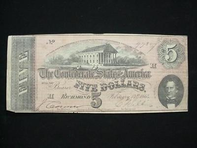 NobleSpirit NO RESERVE Desirable Confederate Currency $5 1864 Very Fine Plus