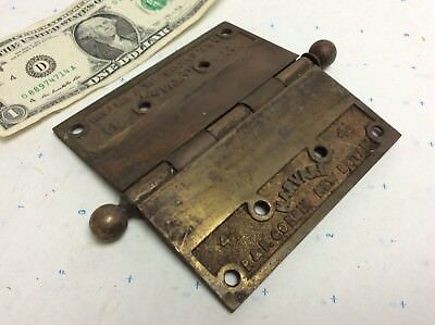 "Vintage Antique Brass Door Hinge 4-1/2"" HARVARD P&F Corbin New Britain"