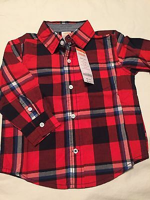 Gymboree King Of Cool Boys Long Sleeve Button Up Shirt Size 18-24 Months Nwt