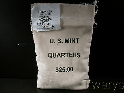 Us Mint Sewn Bag 2008-P Arizona State Quarters 100 Coins $25 Face Value