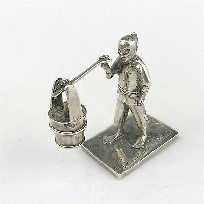 Antique Solid Sterling Silver Chinese Signed Base Water Carrier Ornament Figure