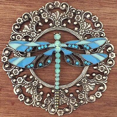 "TURQUOISE ENAMELED JEWELED DRAGONFLY~On FILAGREE Brass~Picture Button~3"" INCH"